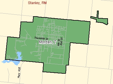 Map of Morden, T (shaded in green), Manitoba