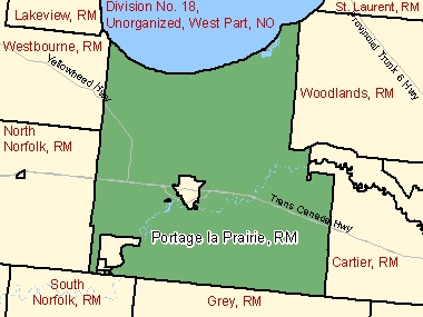 Map of Portage la Prairie, RM (shaded in green), Manitoba