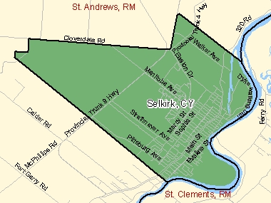 Map of Selkirk, CY (shaded in green), Manitoba