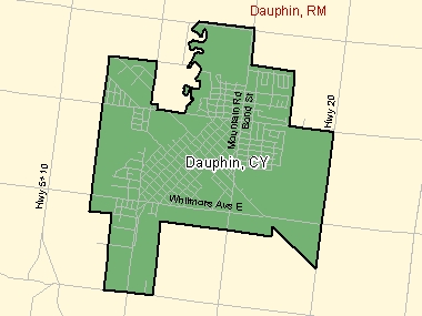 Map of Dauphin, CY (shaded in green), Manitoba