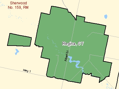 Map of Regina, CY (shaded in green), Saskatchewan