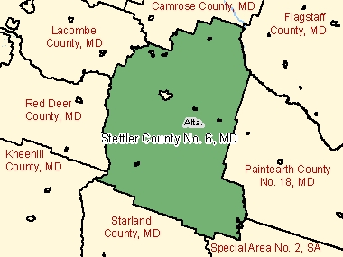 Map of Stettler County No. 6, MD (shaded in green), Alberta