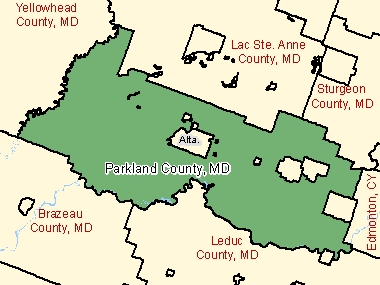 Map of Parkland County, MD (shaded in green), Alberta