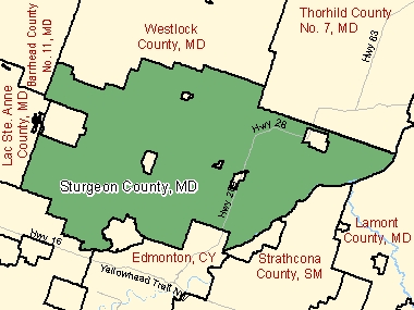 Map of Sturgeon County, MD (shaded in green), Alberta