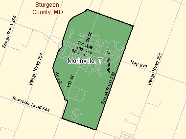 Map of Morinville, T (shaded in green), Alberta