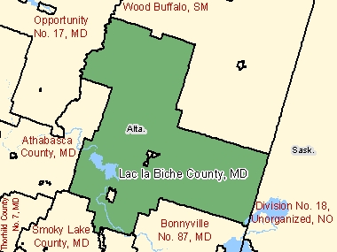Map of Lac la Biche County, MD (shaded in green), Alberta