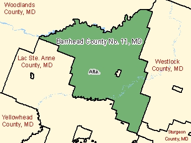 Map of Barrhead County No. 11, MD (shaded in green), Alberta