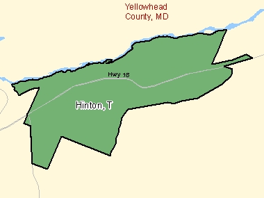 Map of Hinton, T (shaded in green), Alberta