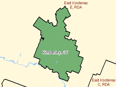 Map of Kimberley, CY (shaded in green), British Columbia