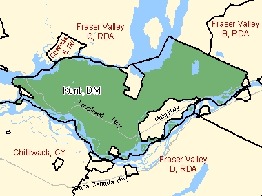 Map of Kent, DM (shaded in green), British Columbia
