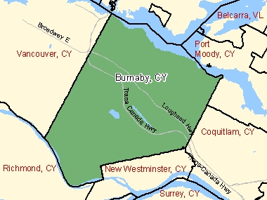 Map of Burnaby, CY (shaded in green), British Columbia