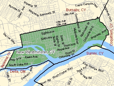 Map of New Westminster, CY (shaded in green), British Columbia