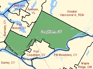 Map of Coquitlam, CY (shaded in green), British Columbia