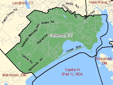 Map of Colwood, CY (shaded in green), British Columbia