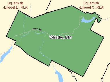 Map of Whistler, DM (shaded in green), British Columbia