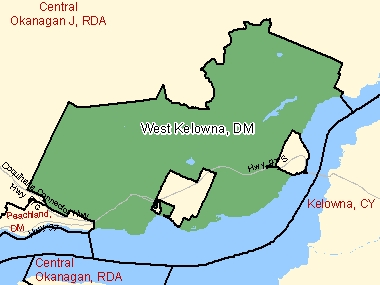 Map of West Kelowna, DM (shaded in green), British Columbia