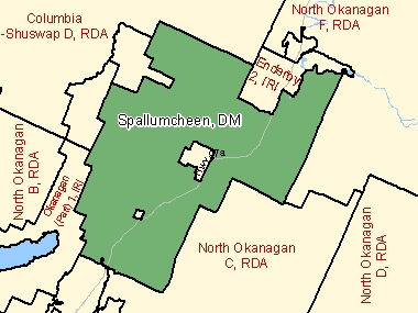 Map of Spallumcheen, DM (shaded in green), British Columbia
