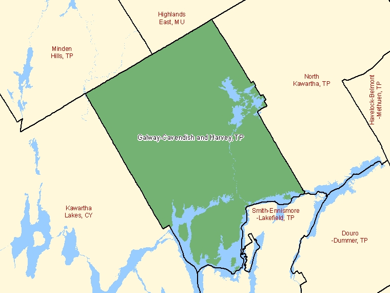 Map : Galway-Cavendish and Harvey : TP, Ontario (Census Subdivision) shaded in green