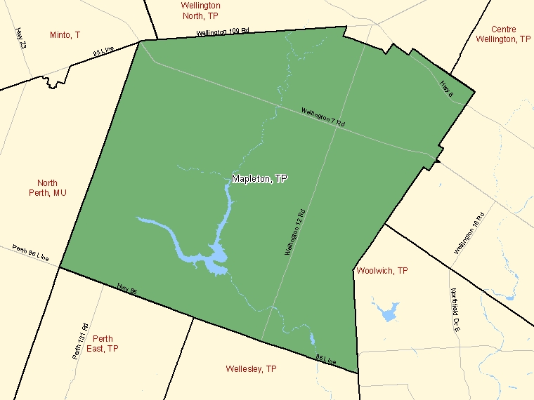 Map : Mapleton : TP, Ontario (Census Subdivision) shaded in green