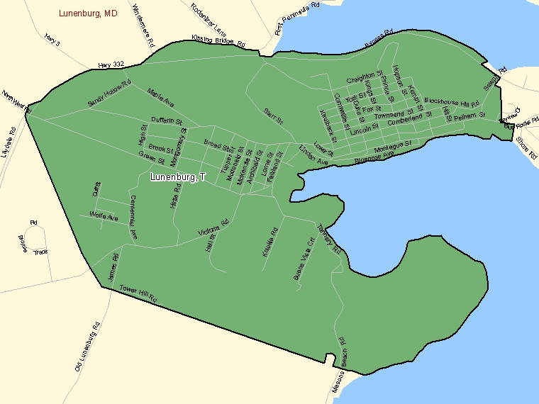 Map: Lunenburg, Town, Census Subdivision (shaded in green), Nova Scotia