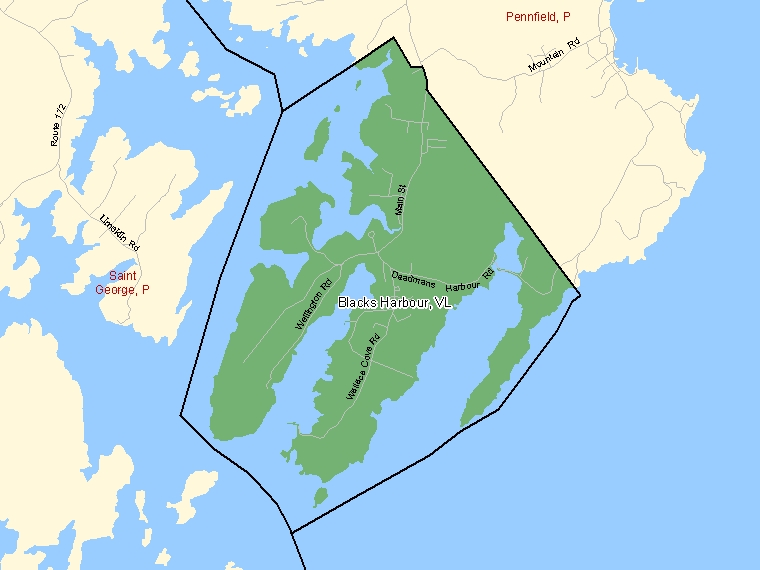 Map: Blacks Harbour, Village, Census Subdivision (shaded in green), New Brunswick