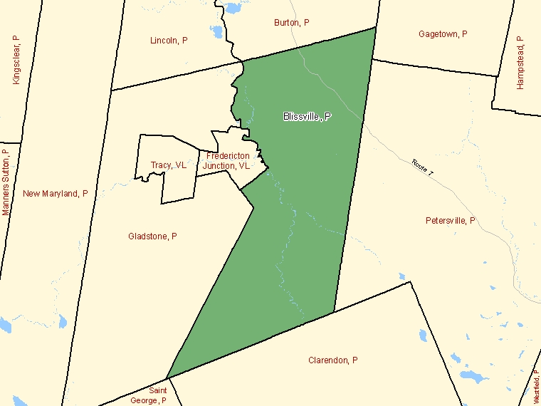 Map: Blissville, Parish, Census Subdivision (shaded in green), New Brunswick