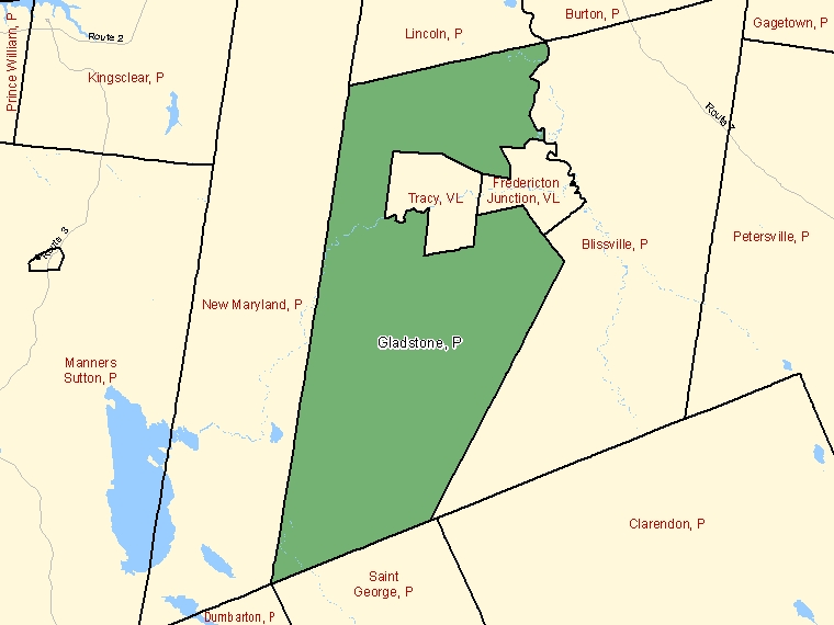Map: Gladstone, Parish, Census Subdivision (shaded in green), New Brunswick