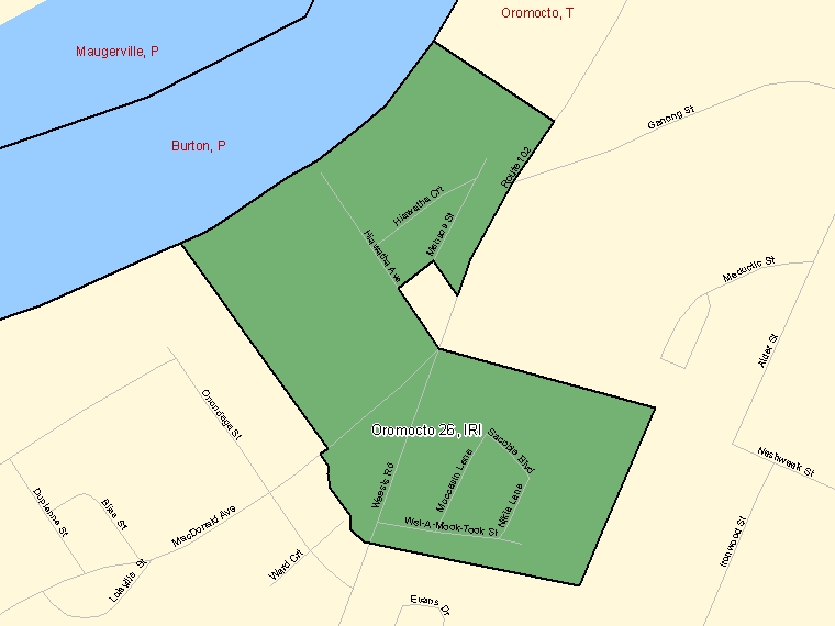 Map: Oromocto 26, Indian reserve, Census Subdivision (shaded in green), New Brunswick