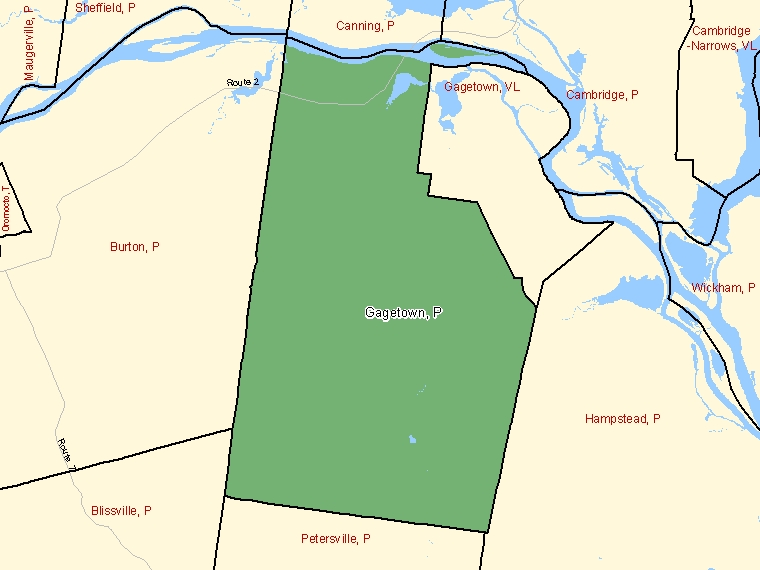 Map: Gagetown, Parish, Census Subdivision (shaded in green), New Brunswick