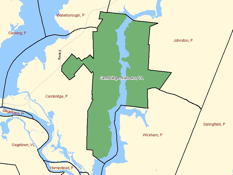 Map: Cambridge-Narrows, Village, Census Subdivision (shaded in green), New Brunswick