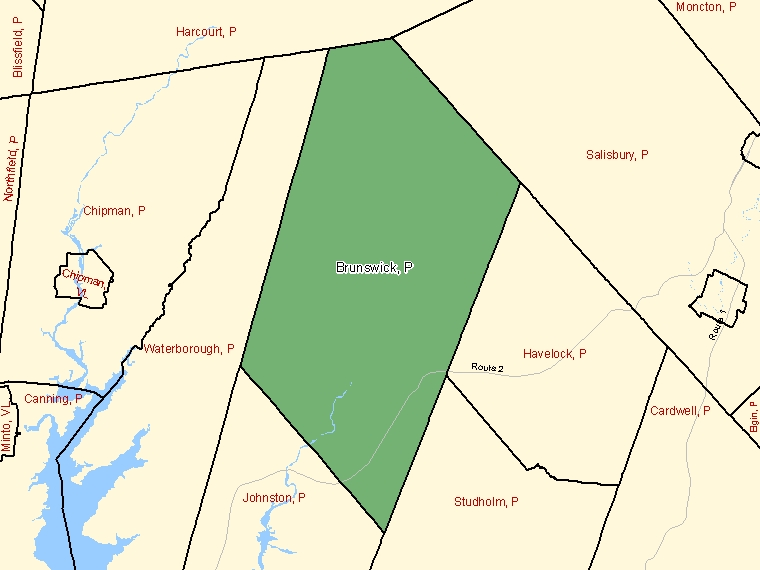 Map: Brunswick, Parish, Census Subdivision (shaded in green), New Brunswick
