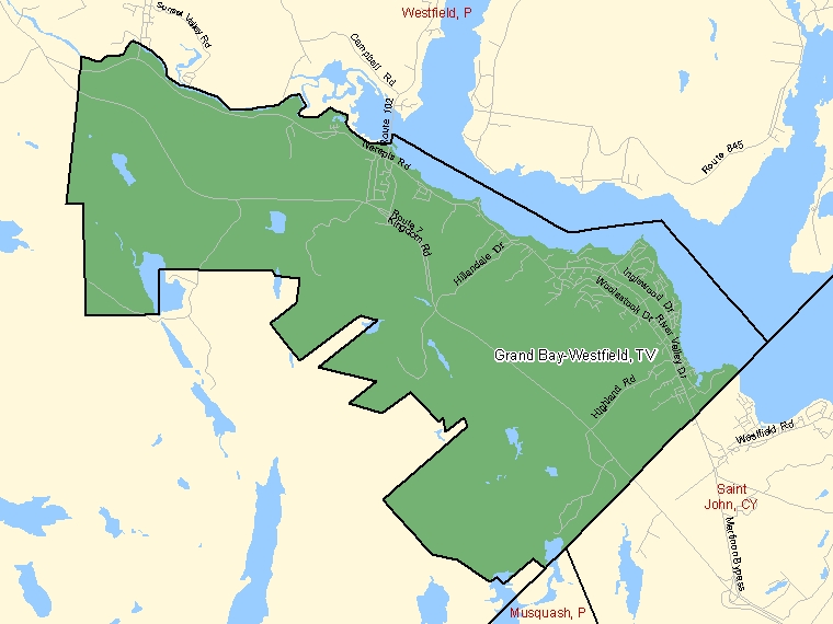 Map: Grand Bay-Westfield, Town, Census Subdivision (shaded in green), New Brunswick