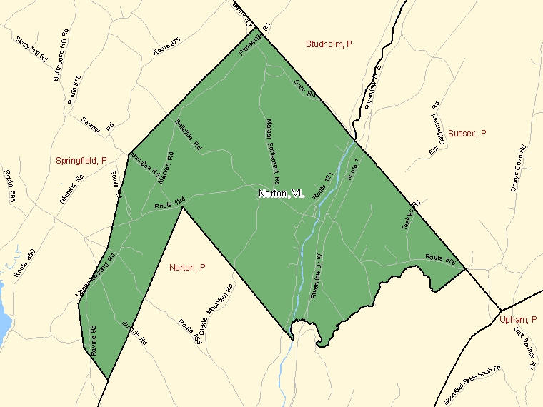 Map: Norton, Village, Census Subdivision (shaded in green), New Brunswick