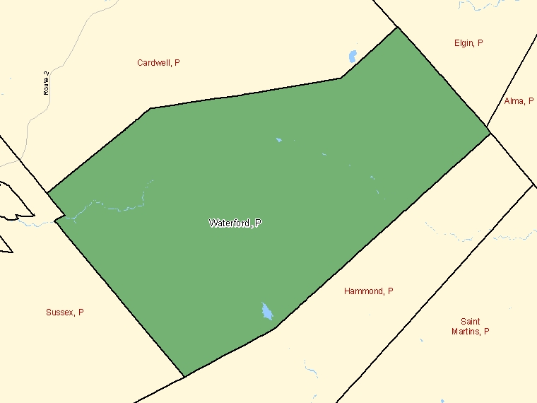 Map: Waterford, Parish, Census Subdivision (shaded in green), New Brunswick