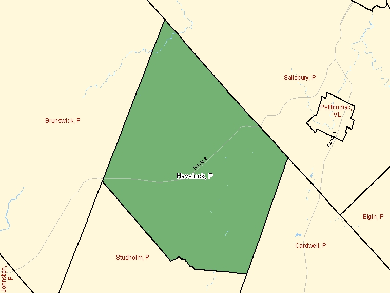 Map: Havelock, Parish, Census Subdivision (shaded in green), New Brunswick