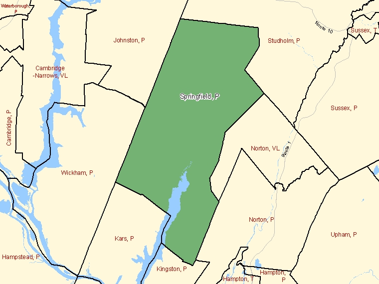 Map: Springfield, Parish, Census Subdivision (shaded in green), New Brunswick