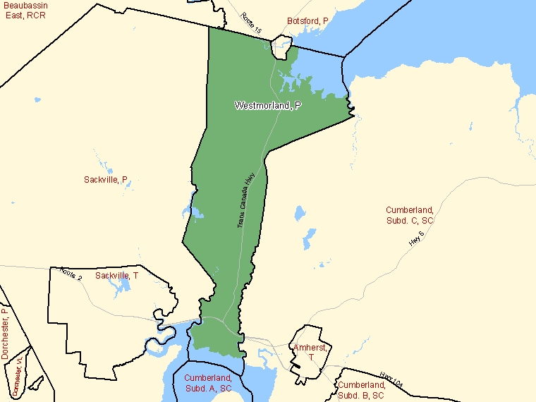 Map: Westmorland, Parish, Census Subdivision (shaded in green), New Brunswick