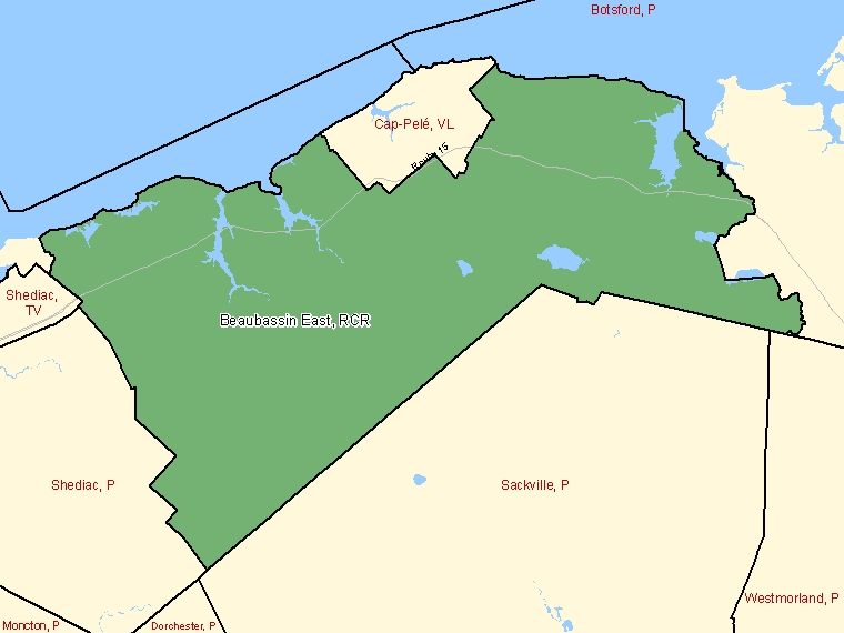 Map: Beaubassin East / Beaubassin-est, Rural community, Census Subdivision (shaded in green), New Brunswick