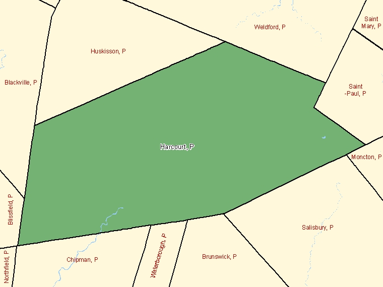 Map: Harcourt, Parish, Census Subdivision (shaded in green), New Brunswick