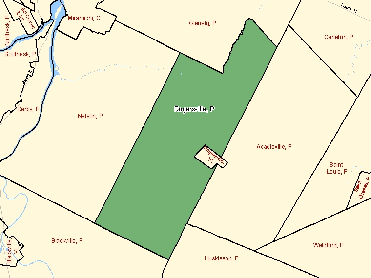 Map: Rogersville, Parish, Census Subdivision (shaded in green), New Brunswick