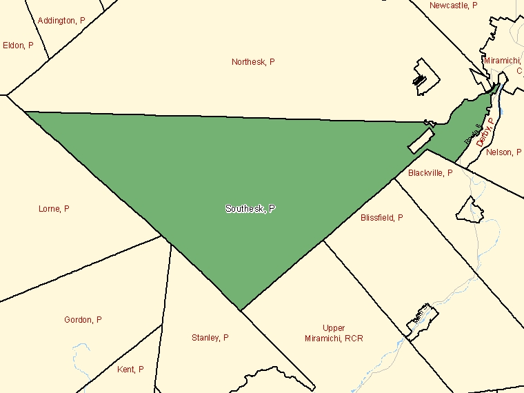 Map: Southesk, Parish, Census Subdivision (shaded in green), New Brunswick