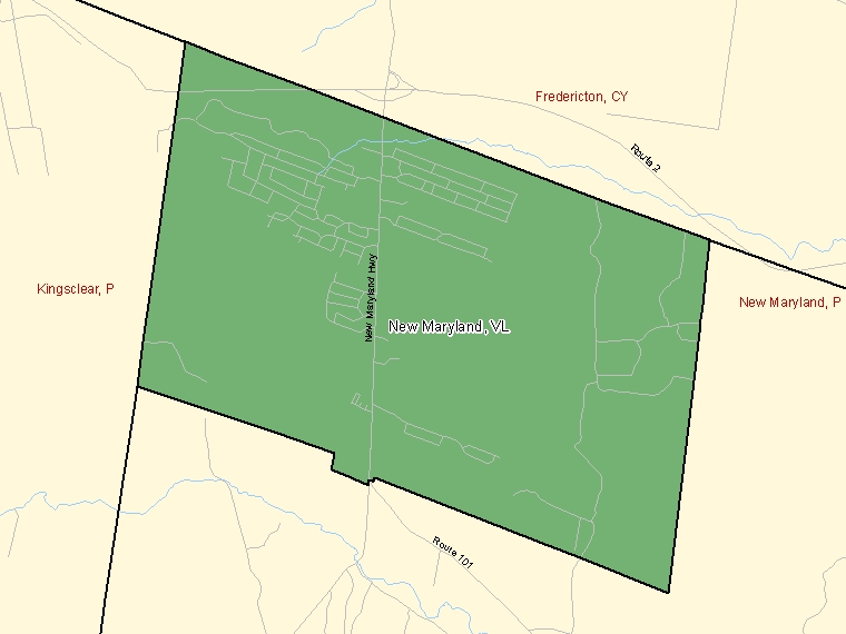 Map: New Maryland, Village, Census Subdivision (shaded in green), New Brunswick