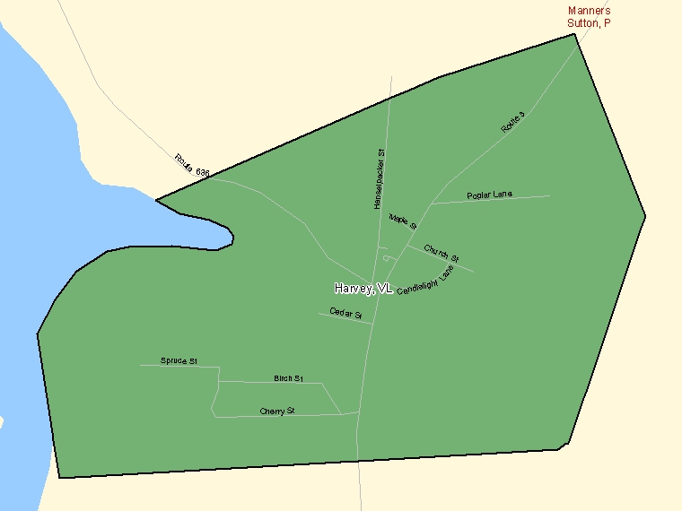 Map: Harvey, Village, Census Subdivision (shaded in green), New Brunswick