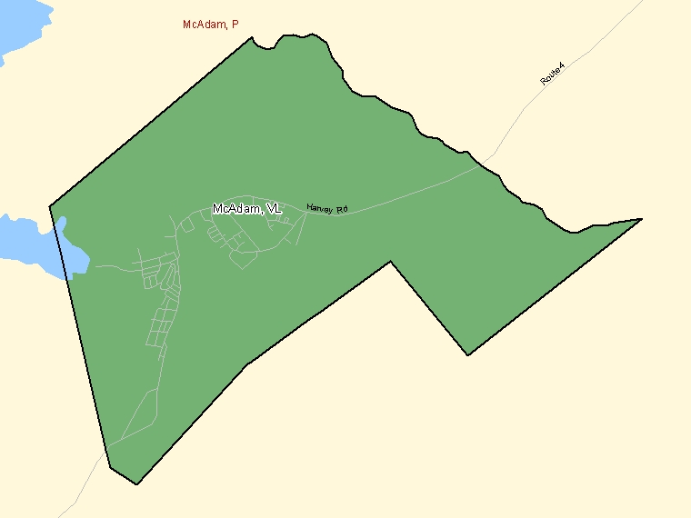 Map: McAdam, Village, Census Subdivision (shaded in green), New Brunswick