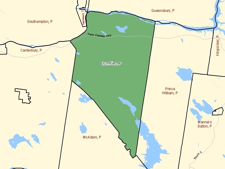 Map: Dumfries, Parish, Census Subdivision (shaded in green), New Brunswick