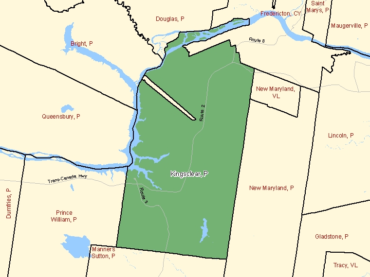 Map: Kingsclear, Parish, Census Subdivision (shaded in green), New Brunswick