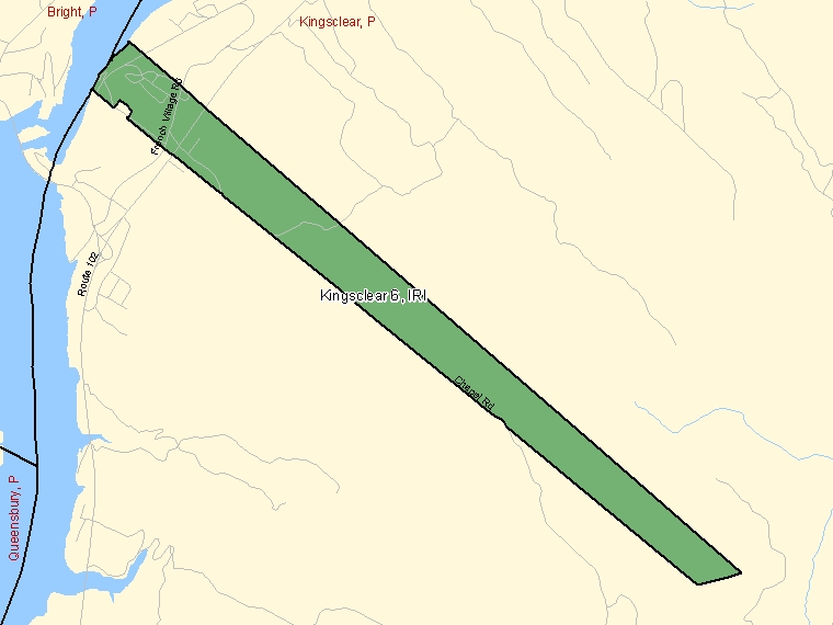 Map: Kingsclear 6, Indian reserve, Census Subdivision (shaded in green), New Brunswick