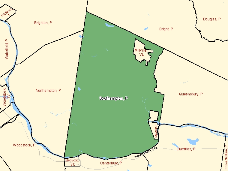 Map: Southampton, Parish, Census Subdivision (shaded in green), New Brunswick