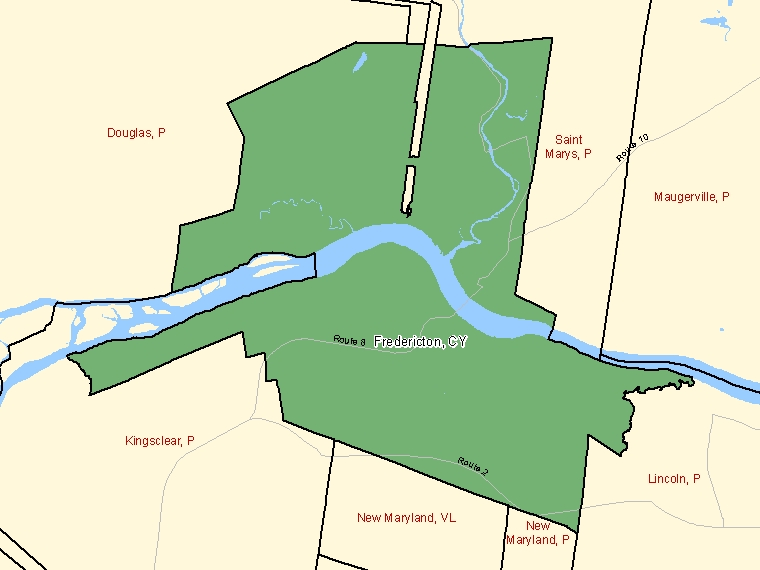 Map: Fredericton, City, Census Subdivision (shaded in green), New Brunswick