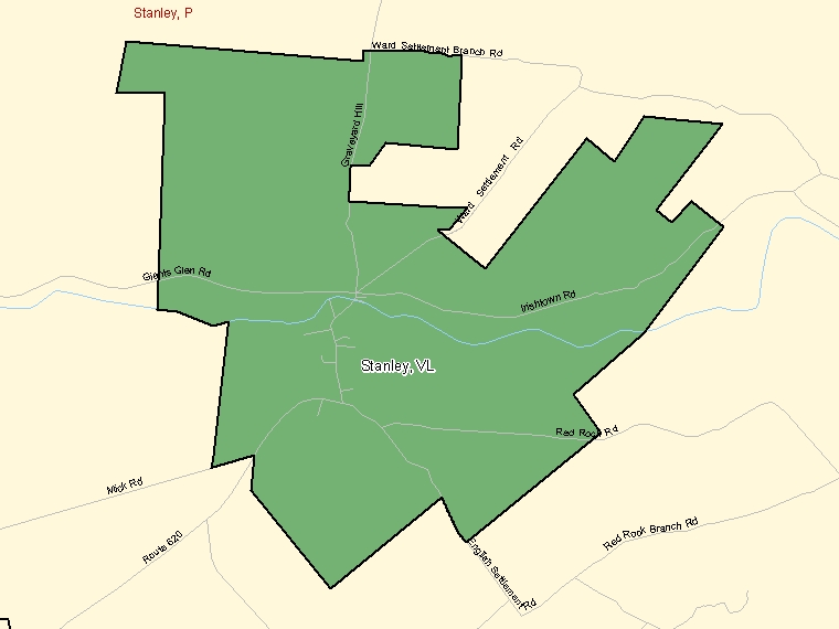 Map: Stanley, Village, Census Subdivision (shaded in green), New Brunswick